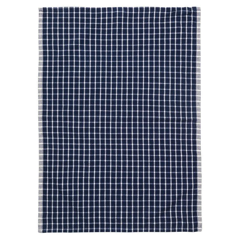 Ferm Living Hale tea towel, dark blue - off white