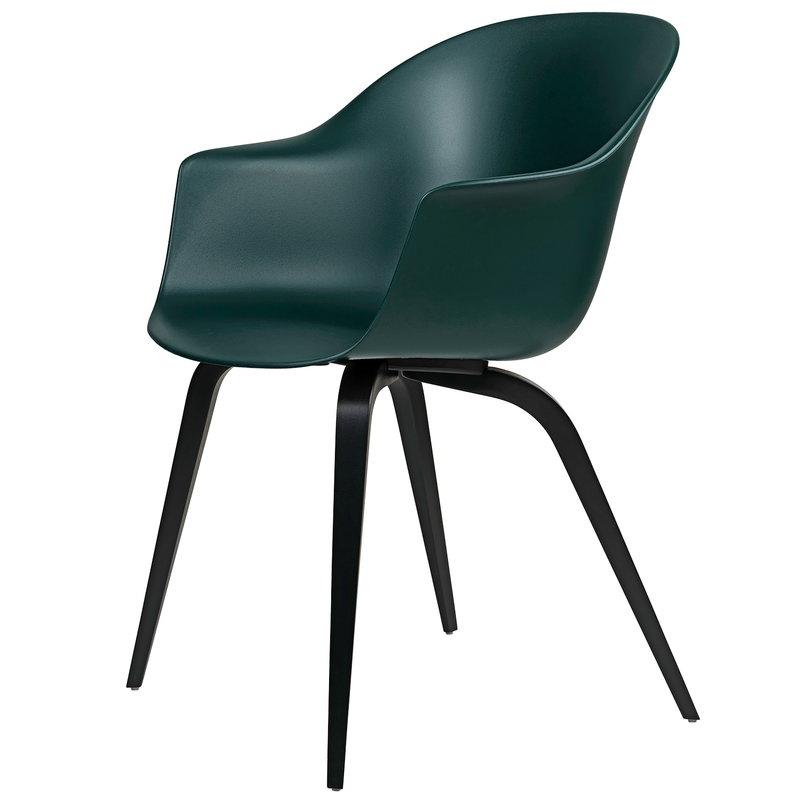 Gubi Bat chair, dark green - black beech base