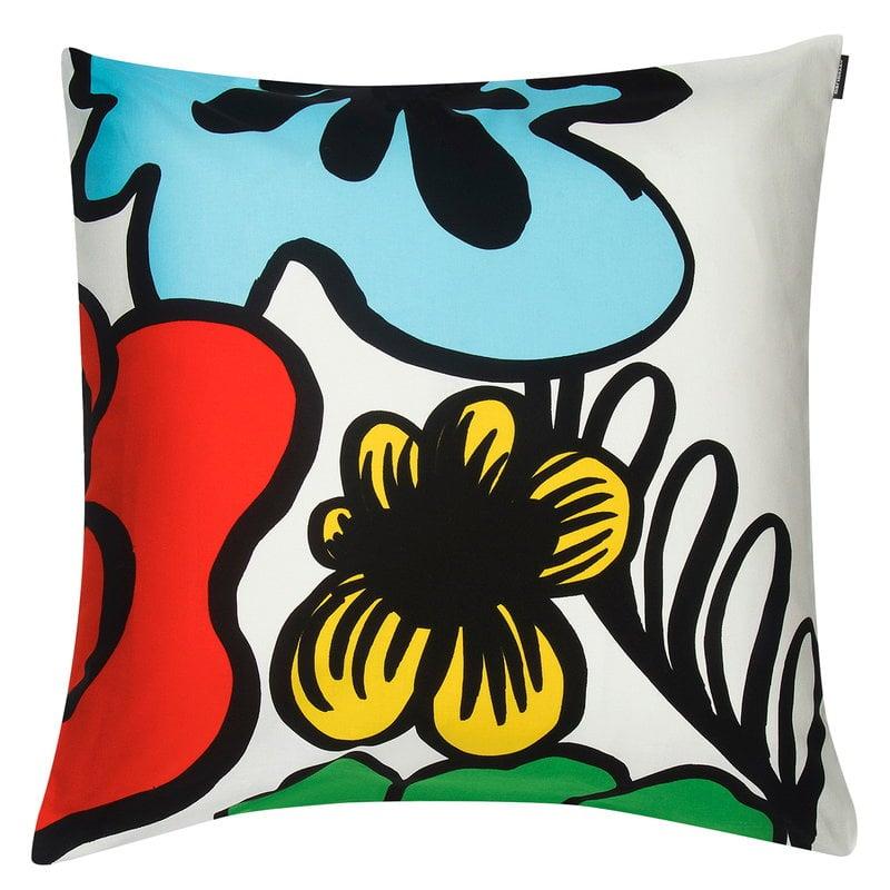 Marimekko Eläköön elämä cushion cover 50 x 50 cm, red-blue-yellow