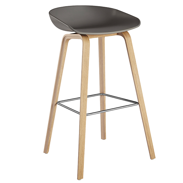 Hay About A Stool AAS32, grey - lacquered oak