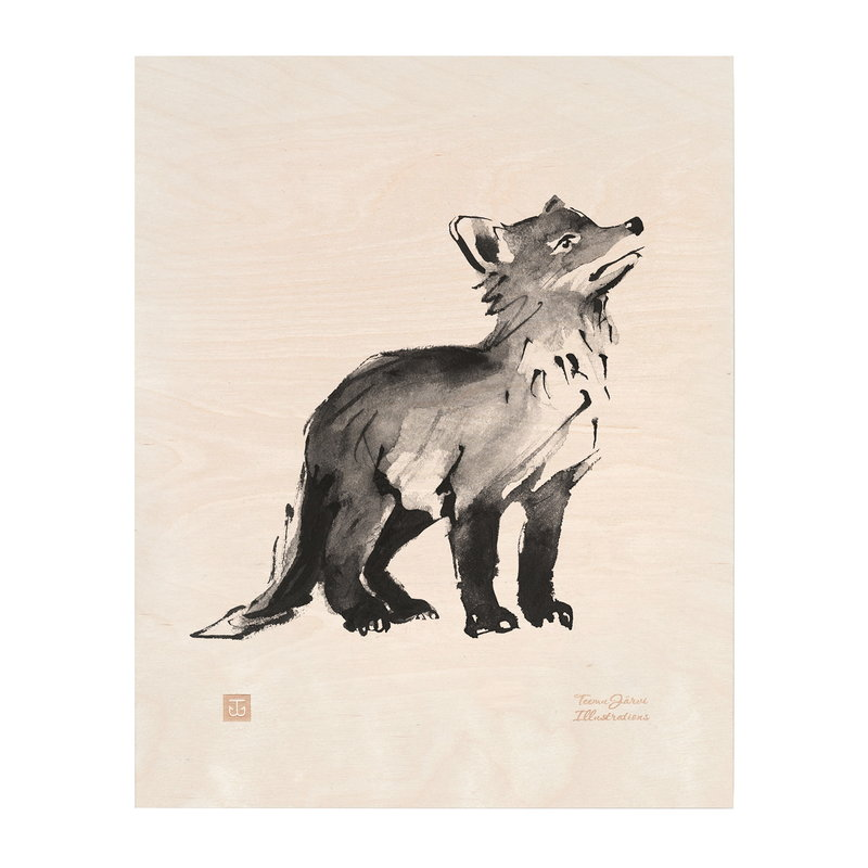 Teemu Järvi Illustrations Fox Cub plywood poster