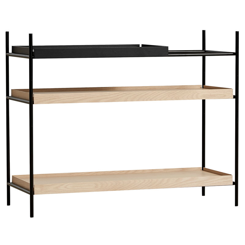 Woud Tray shelf, low, 1 black - 2 oak