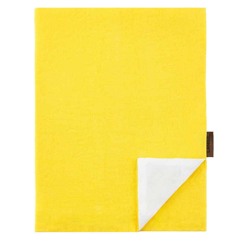 Langø Duvet cover, linen, yellow - white
