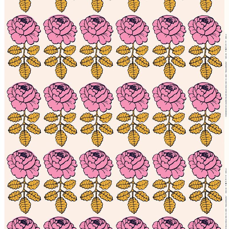 Marimekko Maalaisruusu kangas, l.valkoinen-vaaleanpunainen-tummansininen