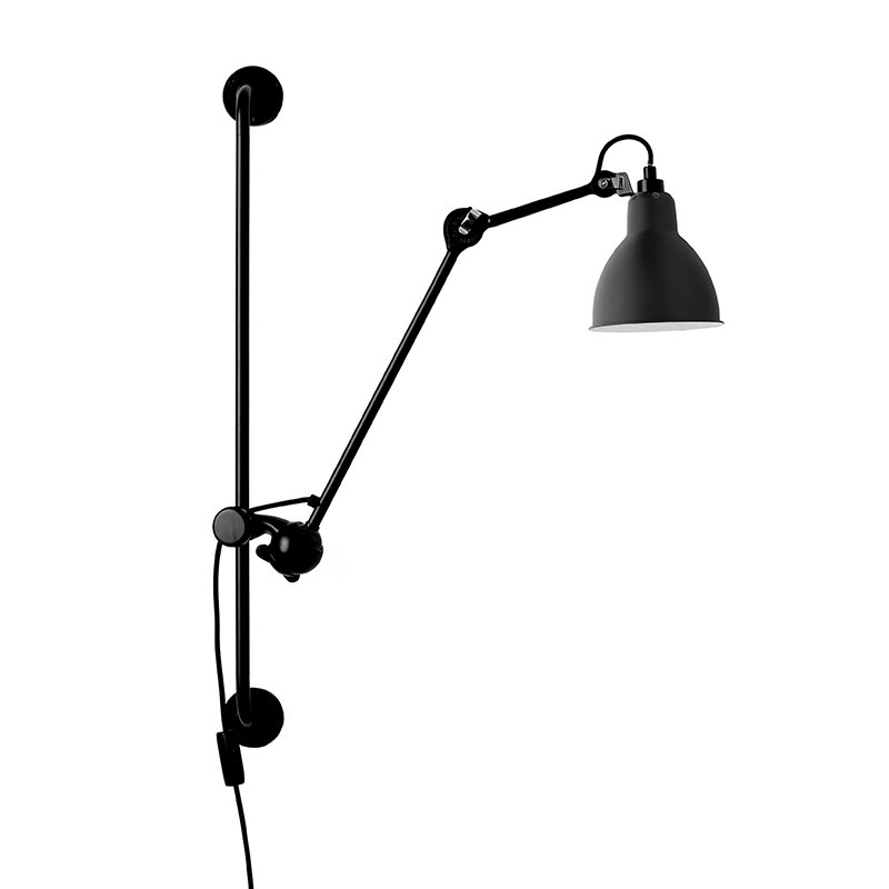 DCW éditions Lampe Gras 210 wall lamp, round shade, black