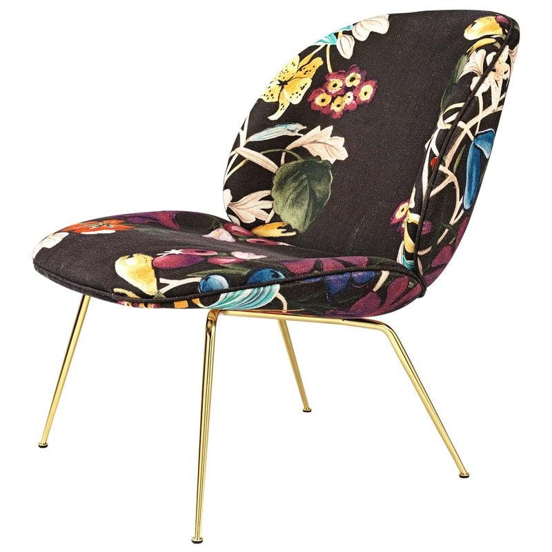 Gubi Beetle lounge chair, brass - Dedar About Flowers 4