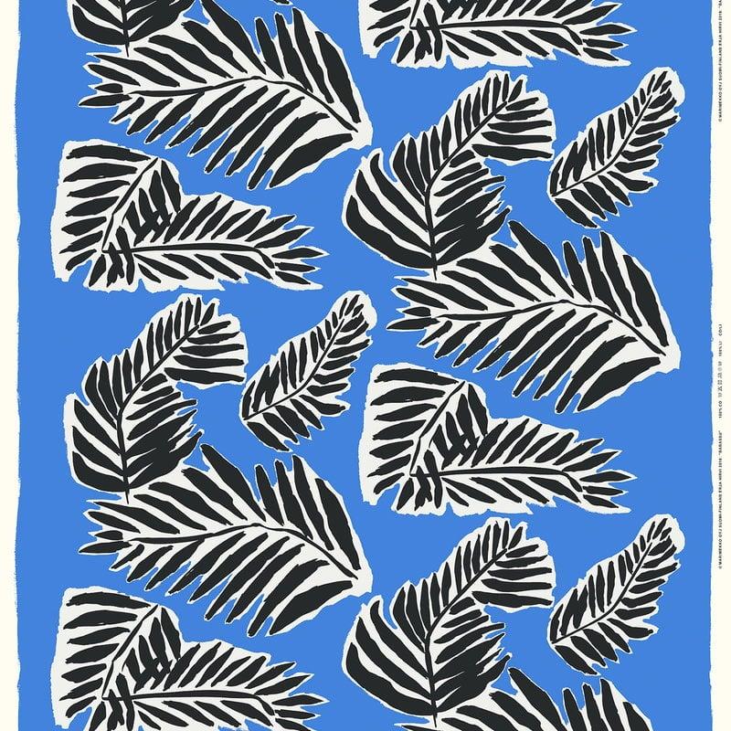 Marimekko Babassu kangas, sininen - musta - luonnonvalkoinen
