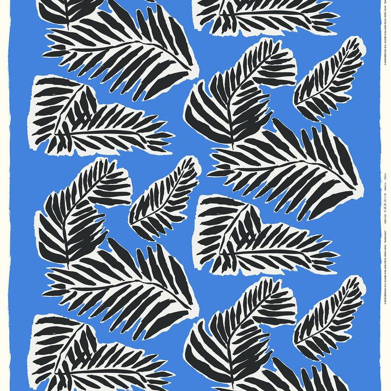 Marimekko Babassu fabric, blue - black - off white