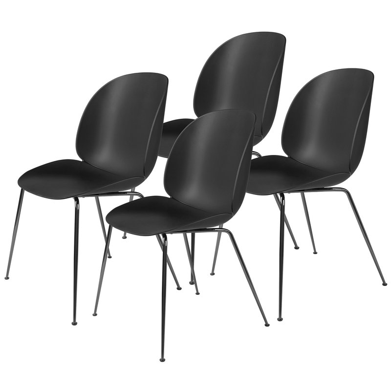 Gubi Beetle chair, black - black chrome, set of 4