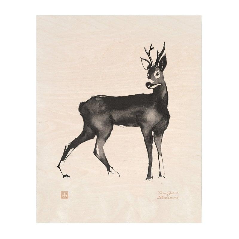 Teemu Järvi Illustrations Roe Deer plywood poster