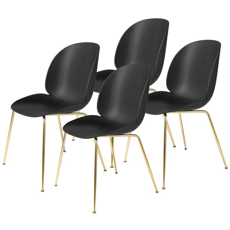Gubi Beetle chair, black - brass, set of 4