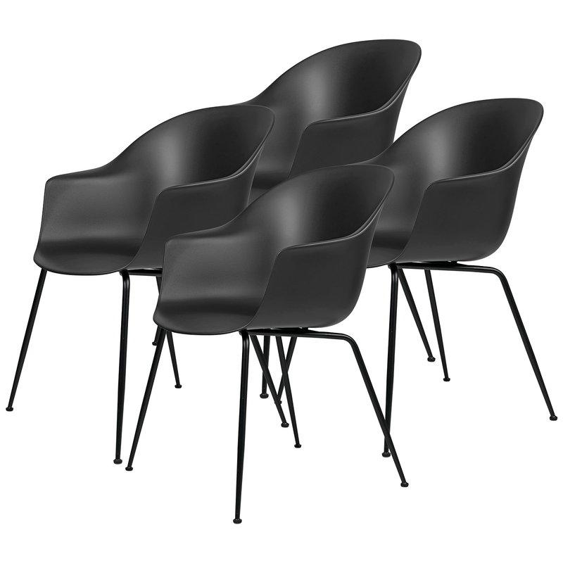 Gubi Bat tuoli,  musta - mustat jalat, 4 kpl setti