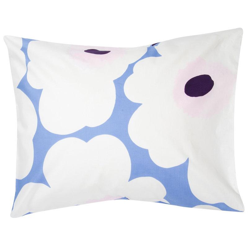 Marimekko Unikko pillowcase,  light blue - off white - plum