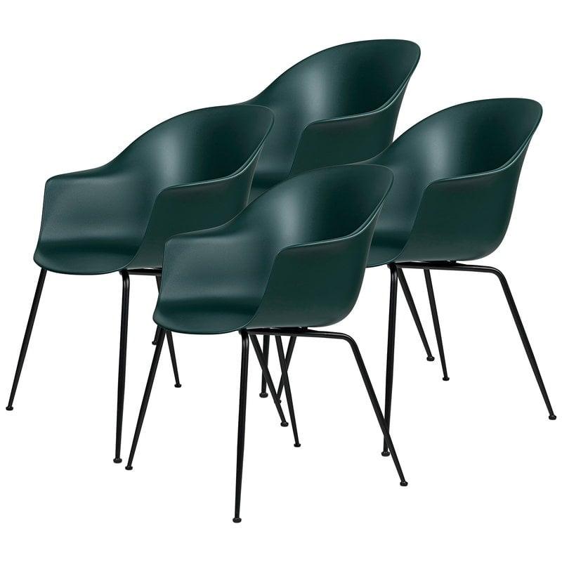 Gubi Bat chair, dark green - black base, set of 4