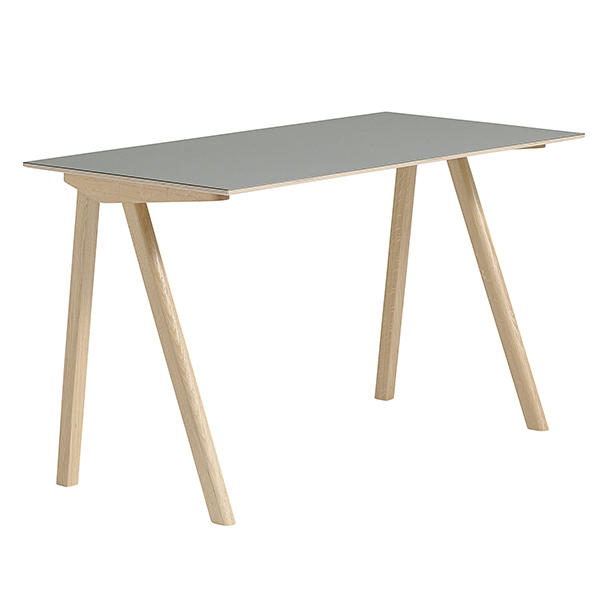 Hay CPH90 desk, matt lacquered oak - grey lino