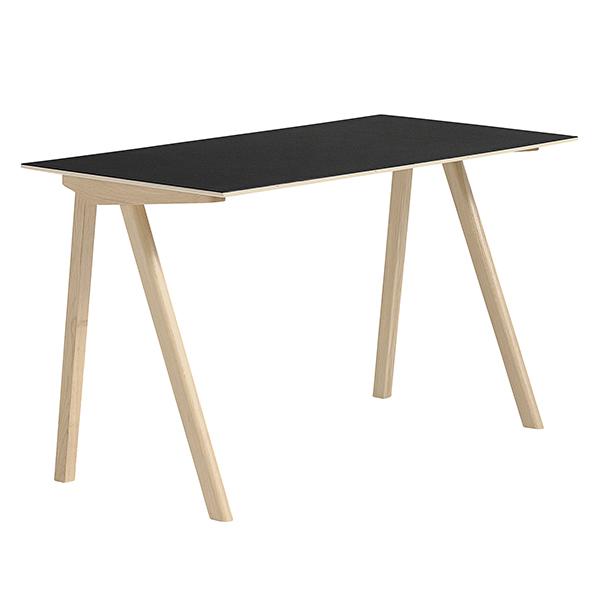 Hay CPH90 desk, matt lacquered oak - black lino
