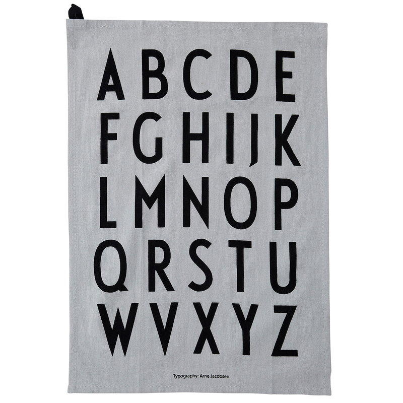 Design Letters Classic keittiöpyyhe, 2 kpl, harmaa