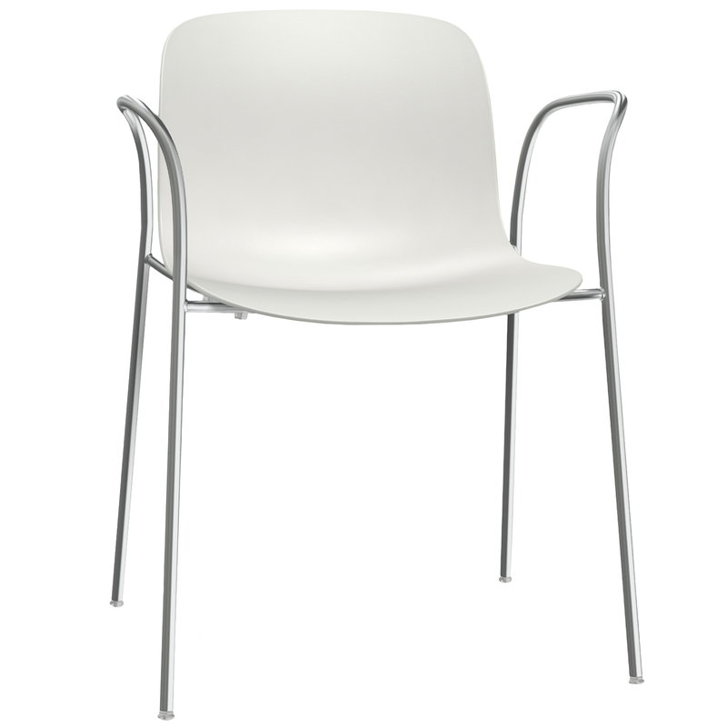 Troy Chair With Arms, White   Chrome