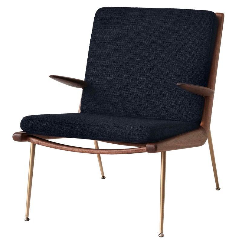 &Tradition Boomerang HM2 lounge chair, Loop Marine - oiled walnut