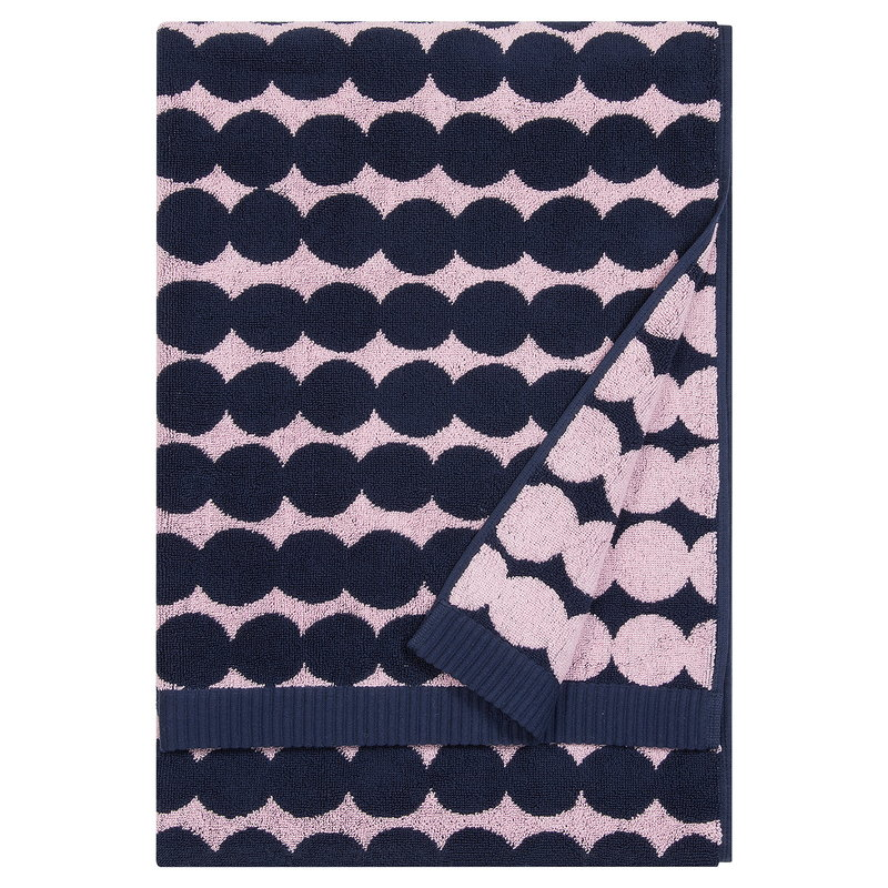 Marimekko Räsymatto bath towel, pink - dark blue
