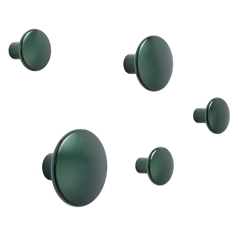 Muuto Dots Metal coat hooks, set of 5, dark green