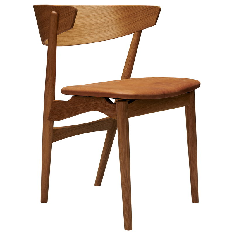 Sibast No 7 tuoli, tammi - konjakinvärinen nahka