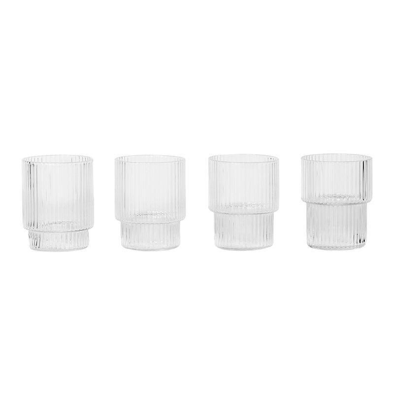 Ferm Living Ripple small glasses, 4 pcs, clear