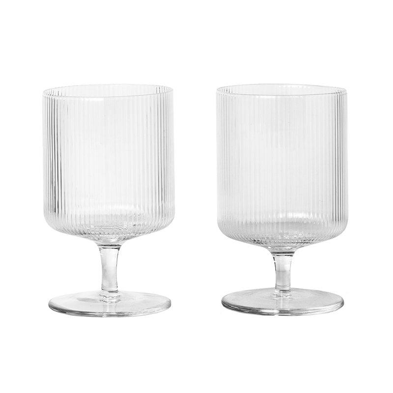 Ferm Living Ripple wine glasses, 2 pcs, clear