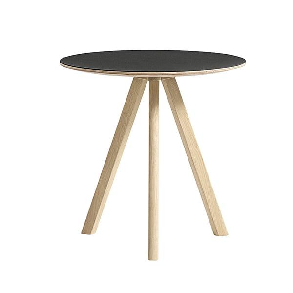 Hay CPH20 pyöreä pöytä 50 cm, mattalakattu tammi - musta lino
