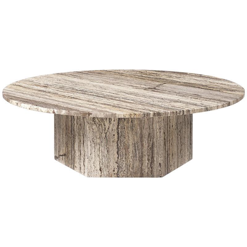 Gubi Epic sohvapöytä, pyöreä, 110 cm, harmaa travertiini