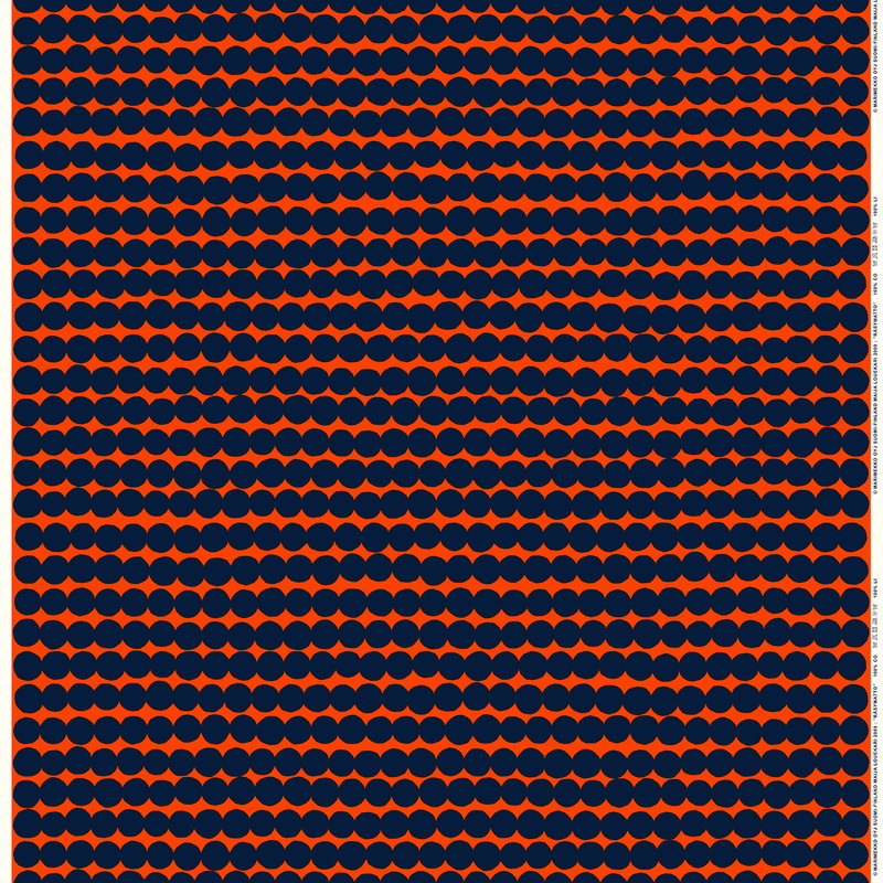 Marimekko Räsymatto cotton/linen fabric, orange - dark blue