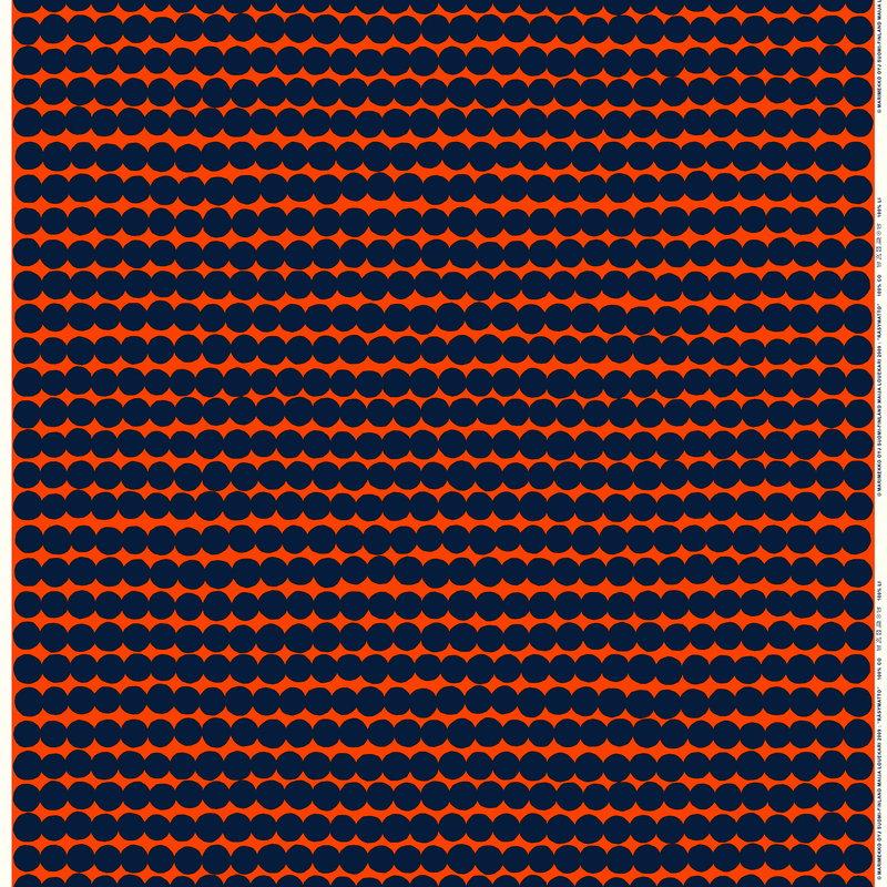 Marimekko Räsymatto puolipellavakangas, oranssi - tummansininen