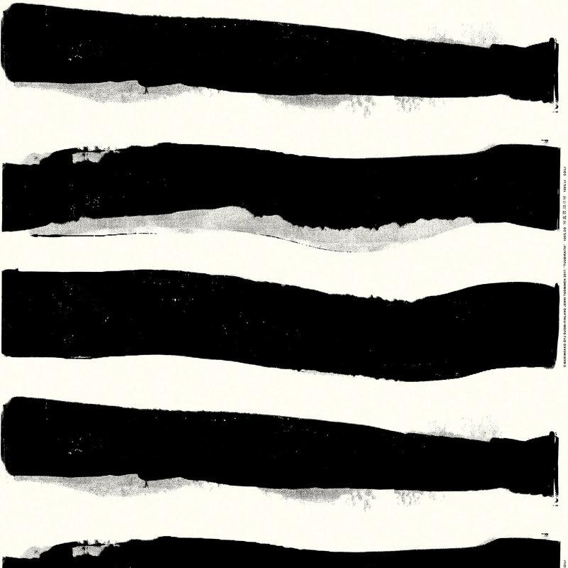 Marimekko Tuubiraita kangas, luonnonvalkoinen - musta