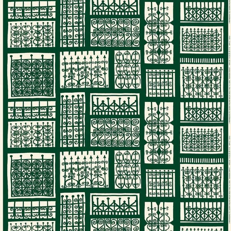 Marimekko Pariisin Portit kangas, tummanvihreä - luonnonvalkoinen