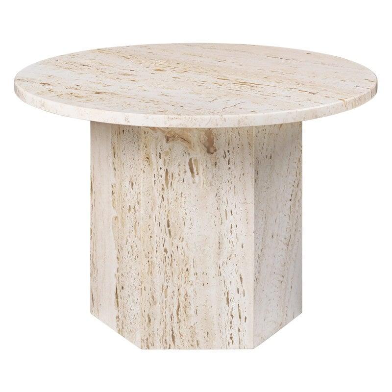 Gubi Epic sohvapöytä, pyöreä, 60 cm, valkoinen travertiini