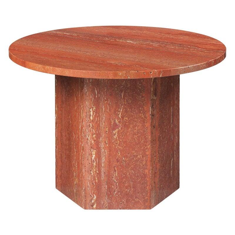 Gubi Epic coffee table, round, 60 cm, red travertine