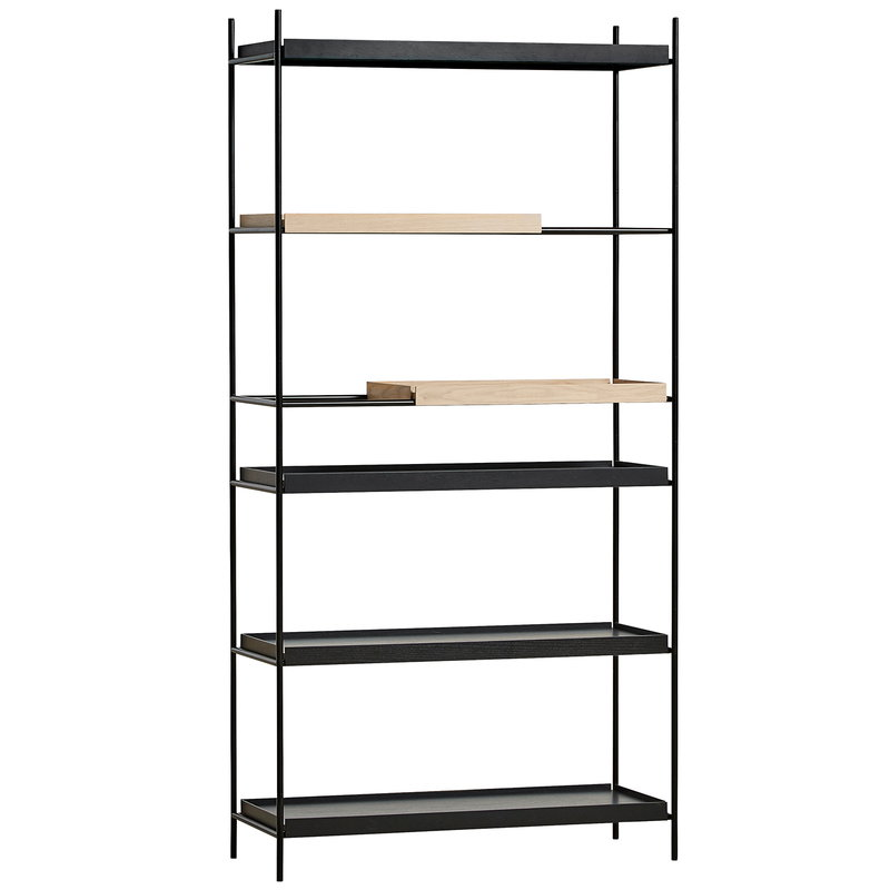Woud Tray shelf, high, 2 oak - 4 black
