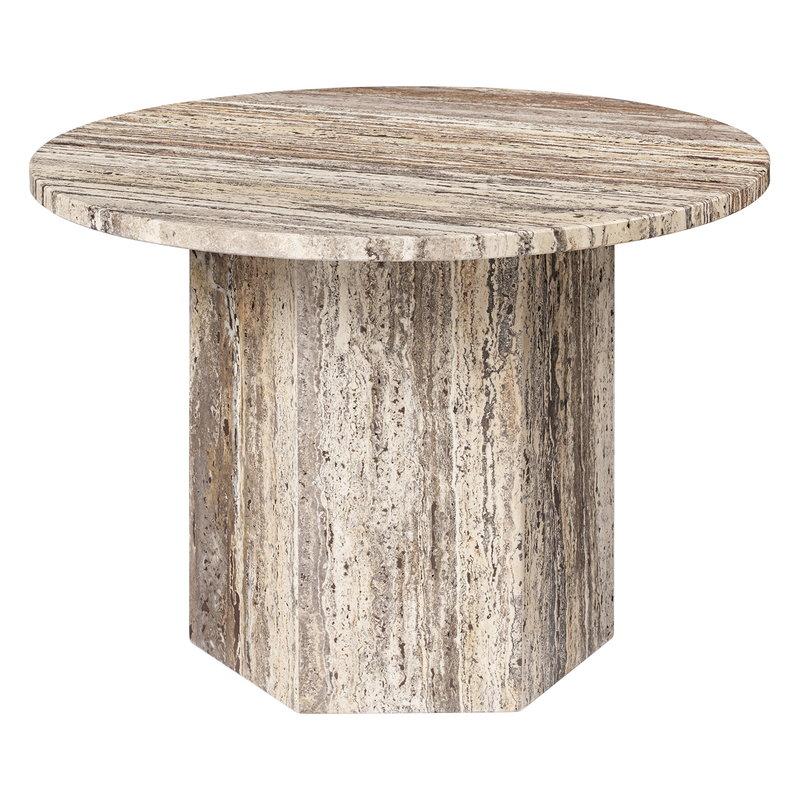 Gubi Epic sohvapöytä, pyöreä, 60 cm, harmaa travertiini