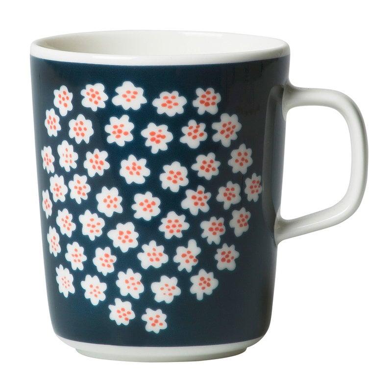Marimekko Tazza Oiva - Puketti 2,5 dl, blu scuro - bianco - marrone rosso