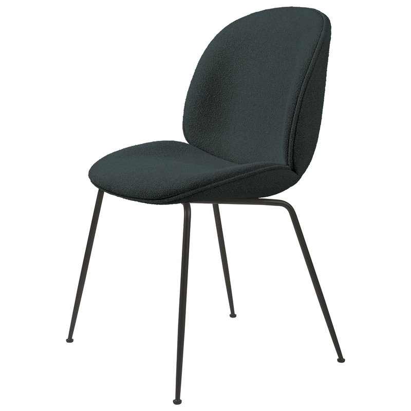 Gubi Beetle chair, black steel - Light Boucle 28