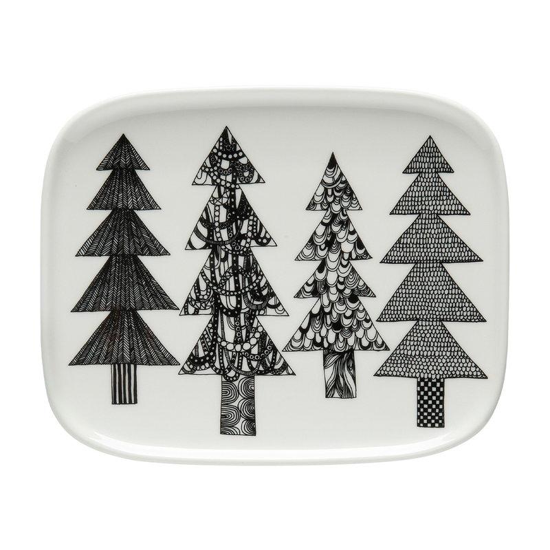 Marimekko Oiva - Kuusikossa plate 15 x 12 cm, black - white