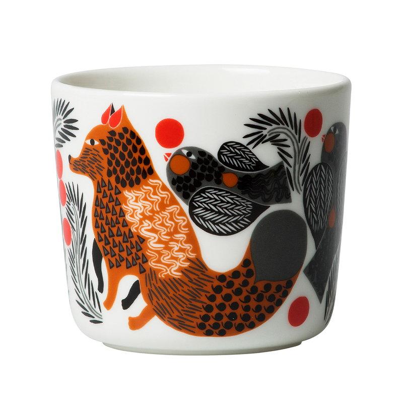 Marimekko Oiva - Ketunmarja korvaton kahvikuppi 2 dl, 2 kpl, valk-rusk-mu