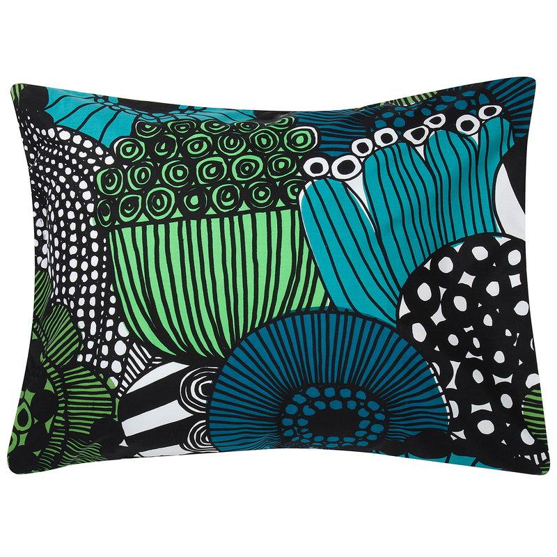 Marimekko Siirtolapuutarha tyynyliina, valkoinen-vihreä-musta