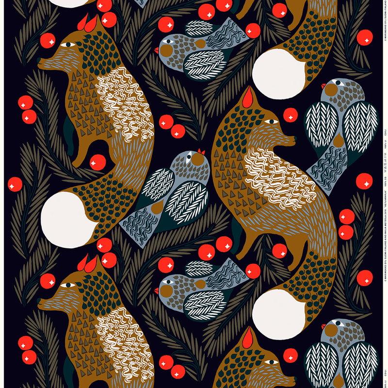 Marimekko Ketunmarja pinnoitettu puuvillakangas, tummansininen-ruskea
