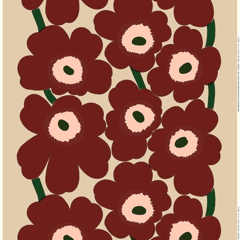 Marimekko Unikko cotton/linen fabric, beige-reddish brown-peach