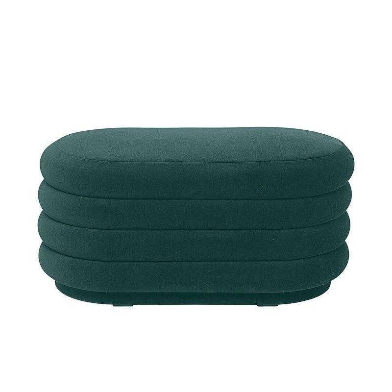 Ferm Living Pouf Oval Medium Dark Green Finnish Design