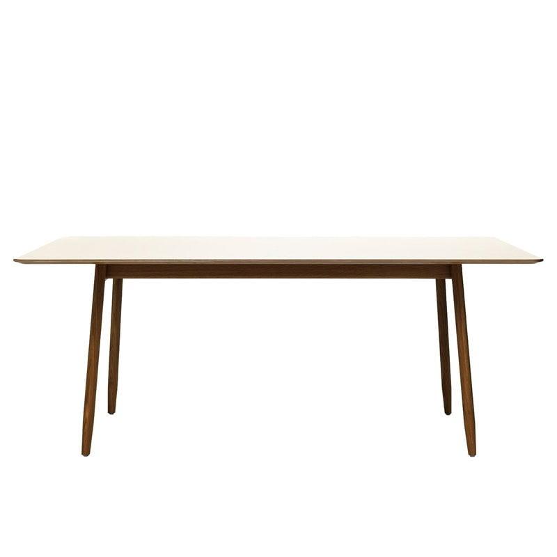 Massproductions Icha pöytä, pähkinäpuu - helmenvalkoinen
