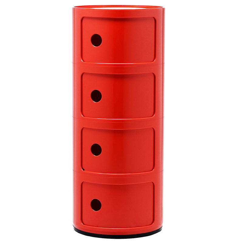 Kartell Componibili säilytyskaluste, 4-osainen, punainen