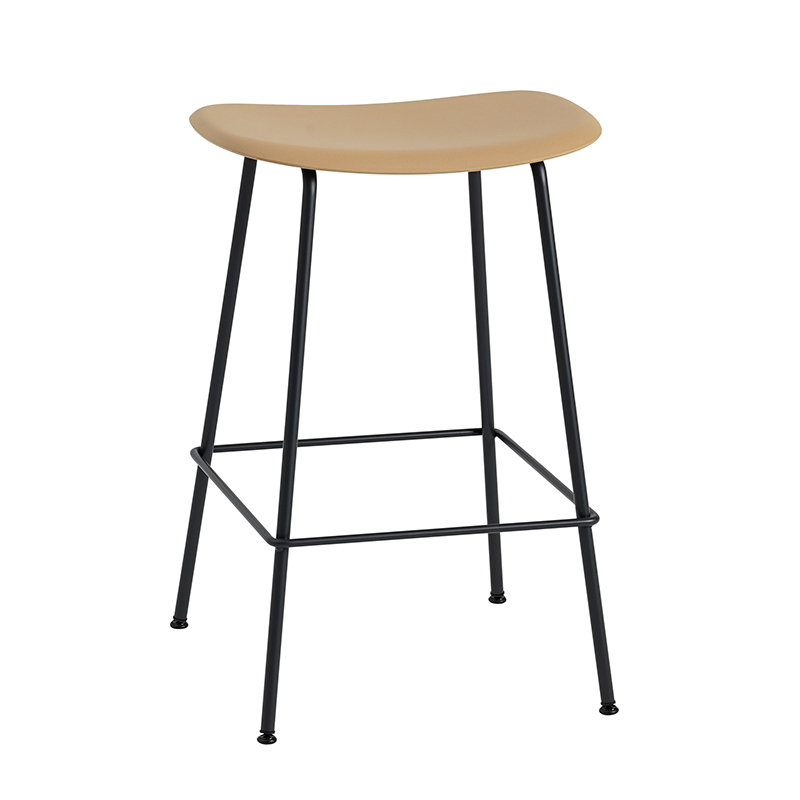 Muuto Fiber bar stool, tube base, ochre - black