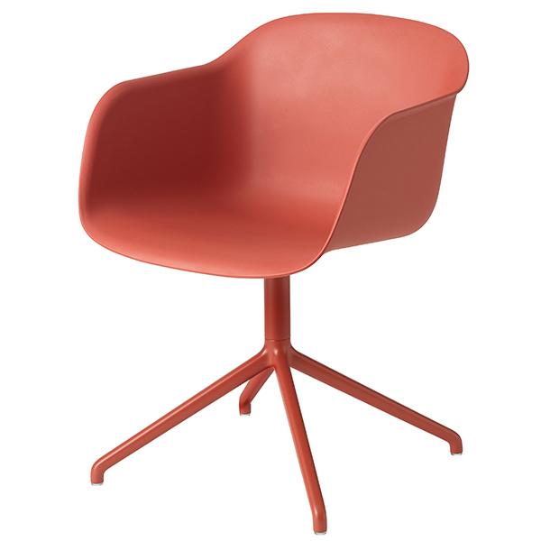 Muuto Fiber tuoli käsinojilla, pyörivä, dusty red